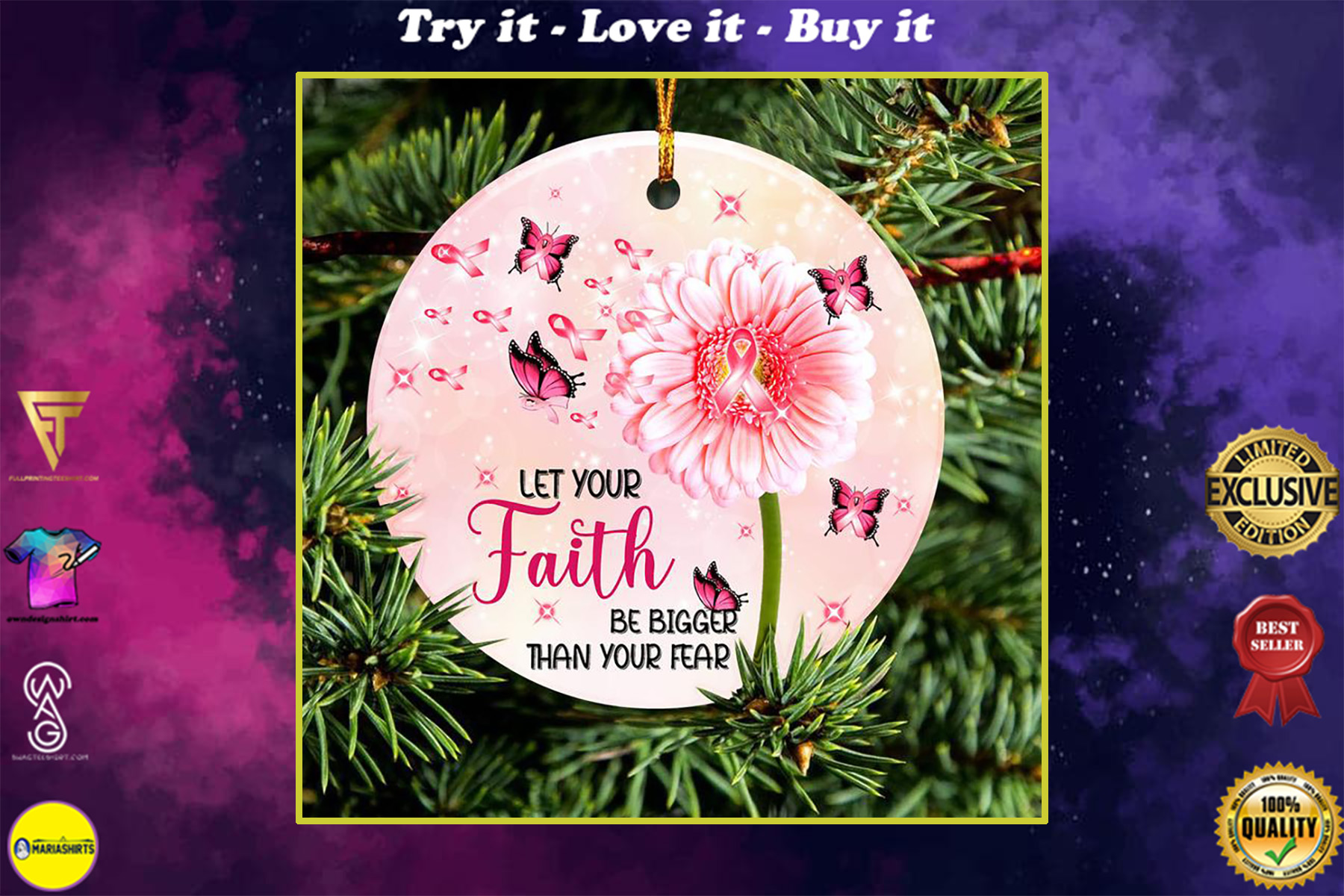 breast cancer awareness butterfly christmas ornament