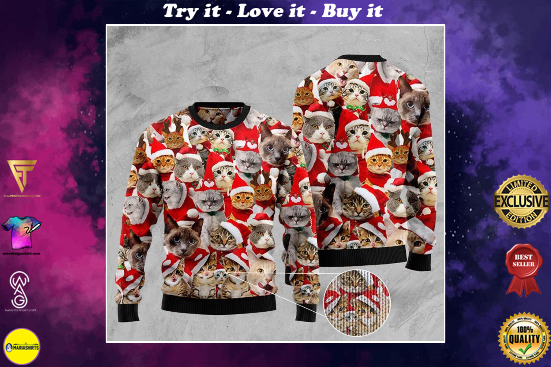 cats with santa hat full printing ugly sweater