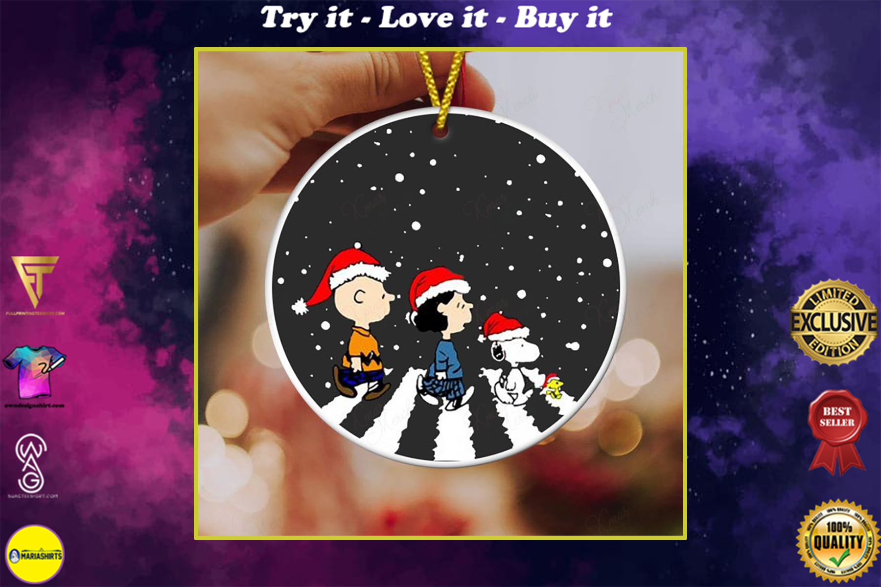 charlie brown and snoopy christmas ornament