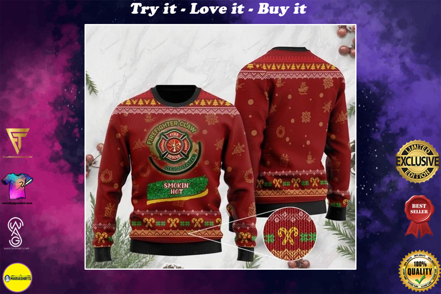 christmas firefighter claw heroic seltzer smokin hot ugly sweater