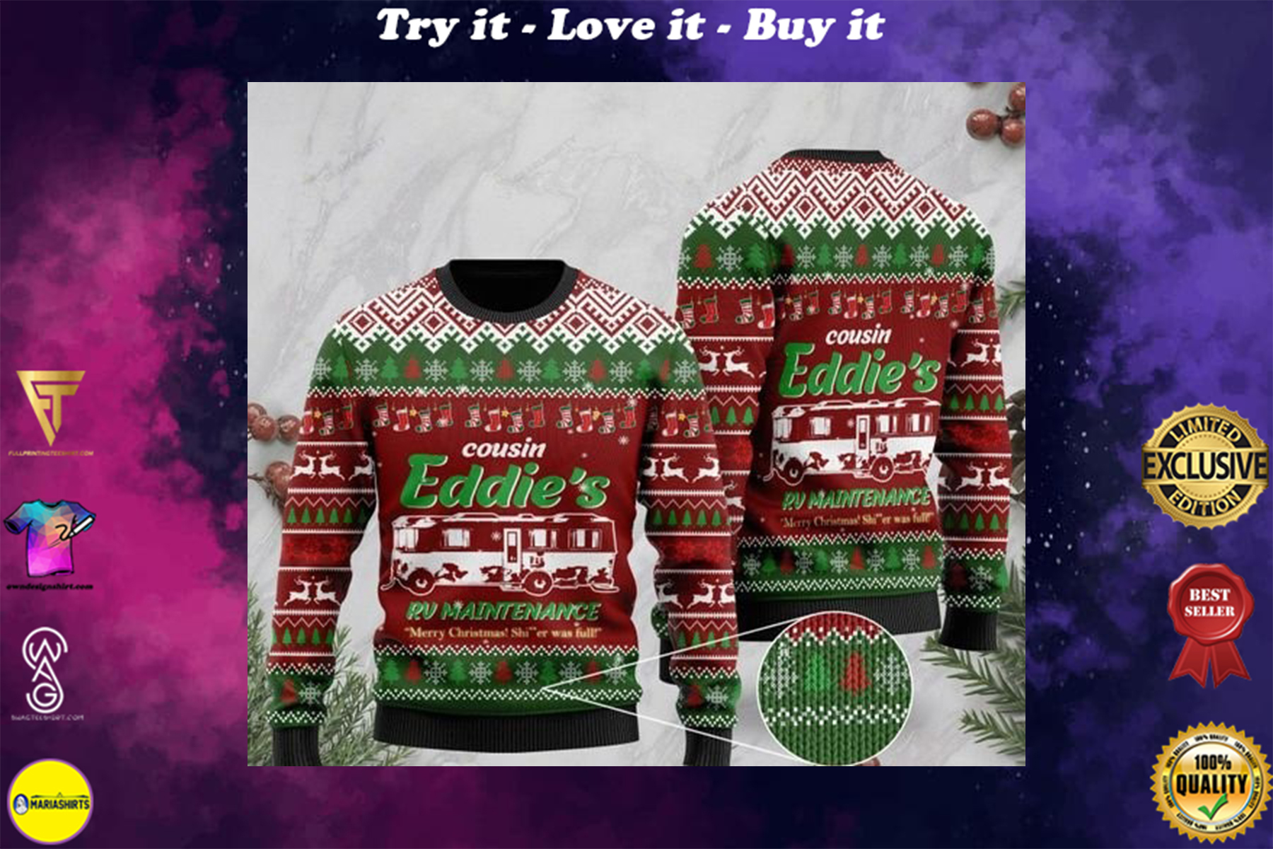 christmas vacation cousin eddies rv maintenance merry christmas ugly sweater