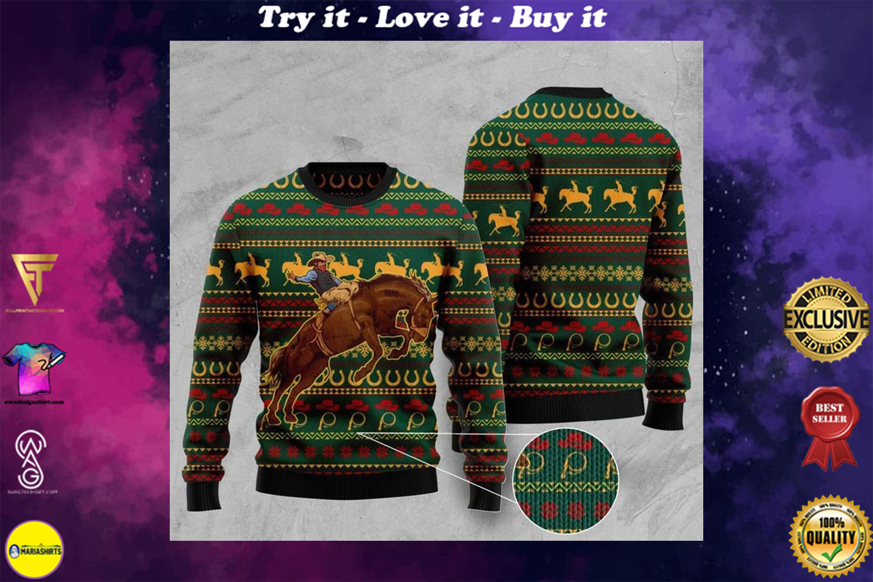 cowboy christmas full printing ugly sweater