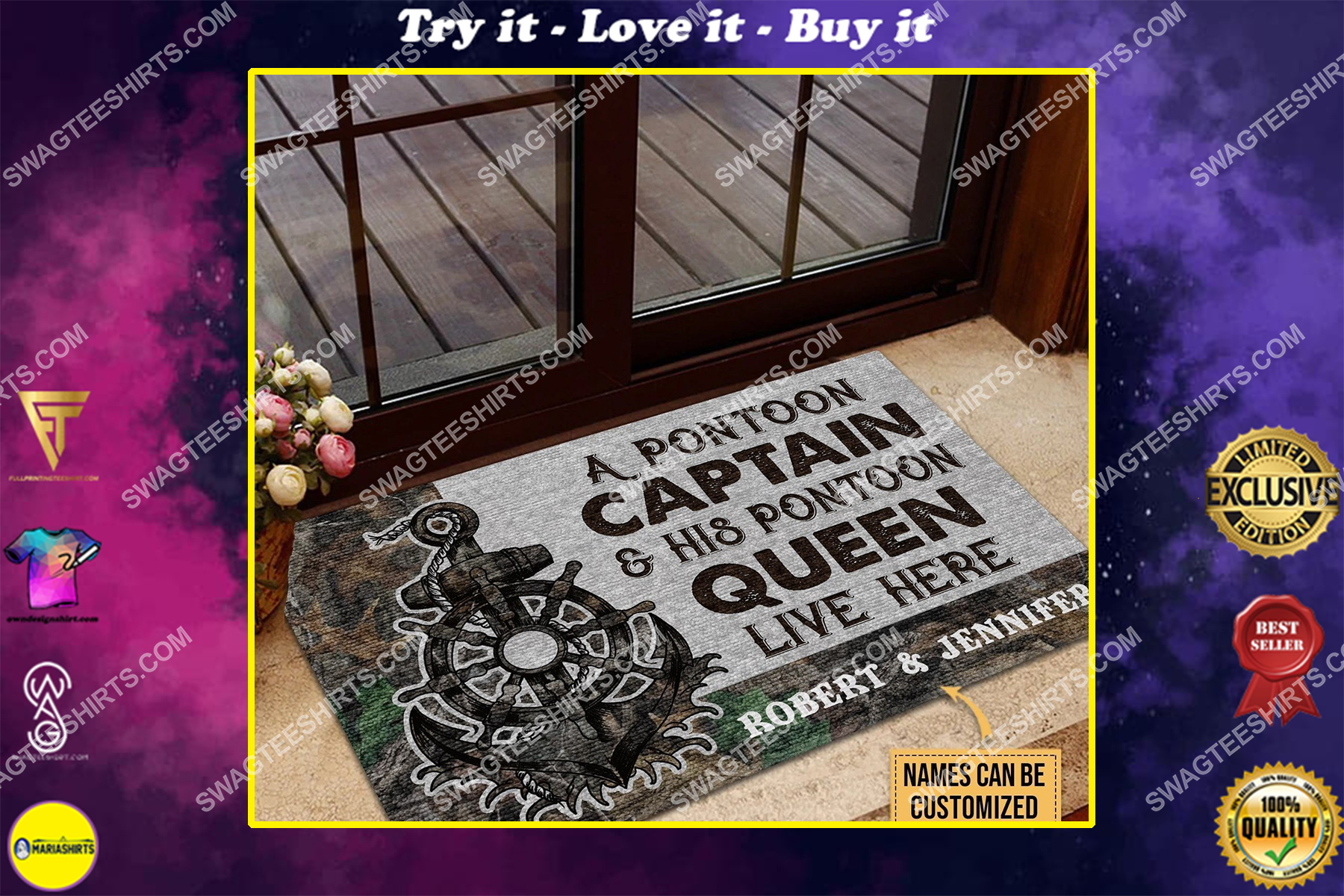 custom name a pontoon captain and his pontoon queen live here full print doormat