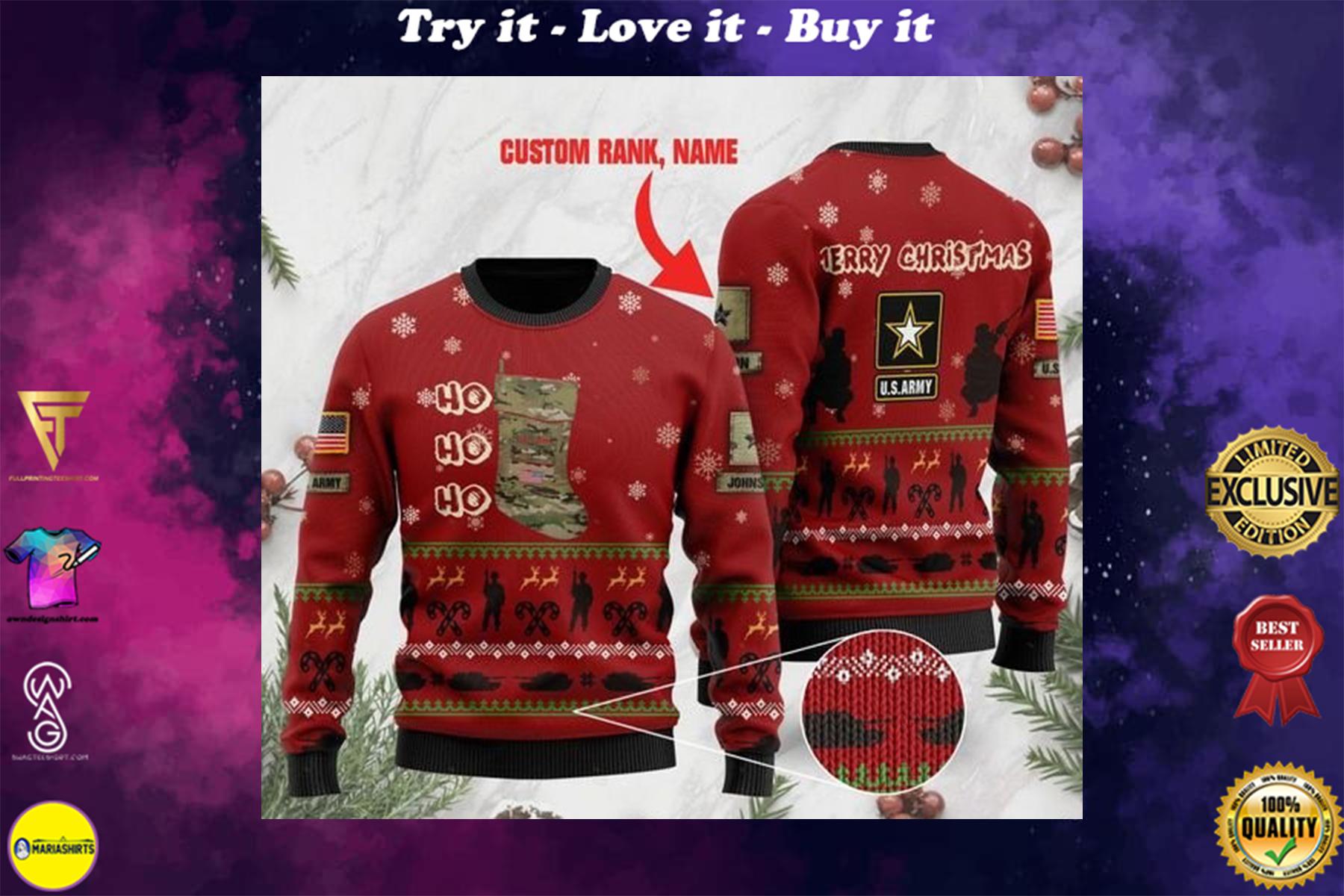 custom rank and name us army ho ho ho christmas time full printing ugly sweater