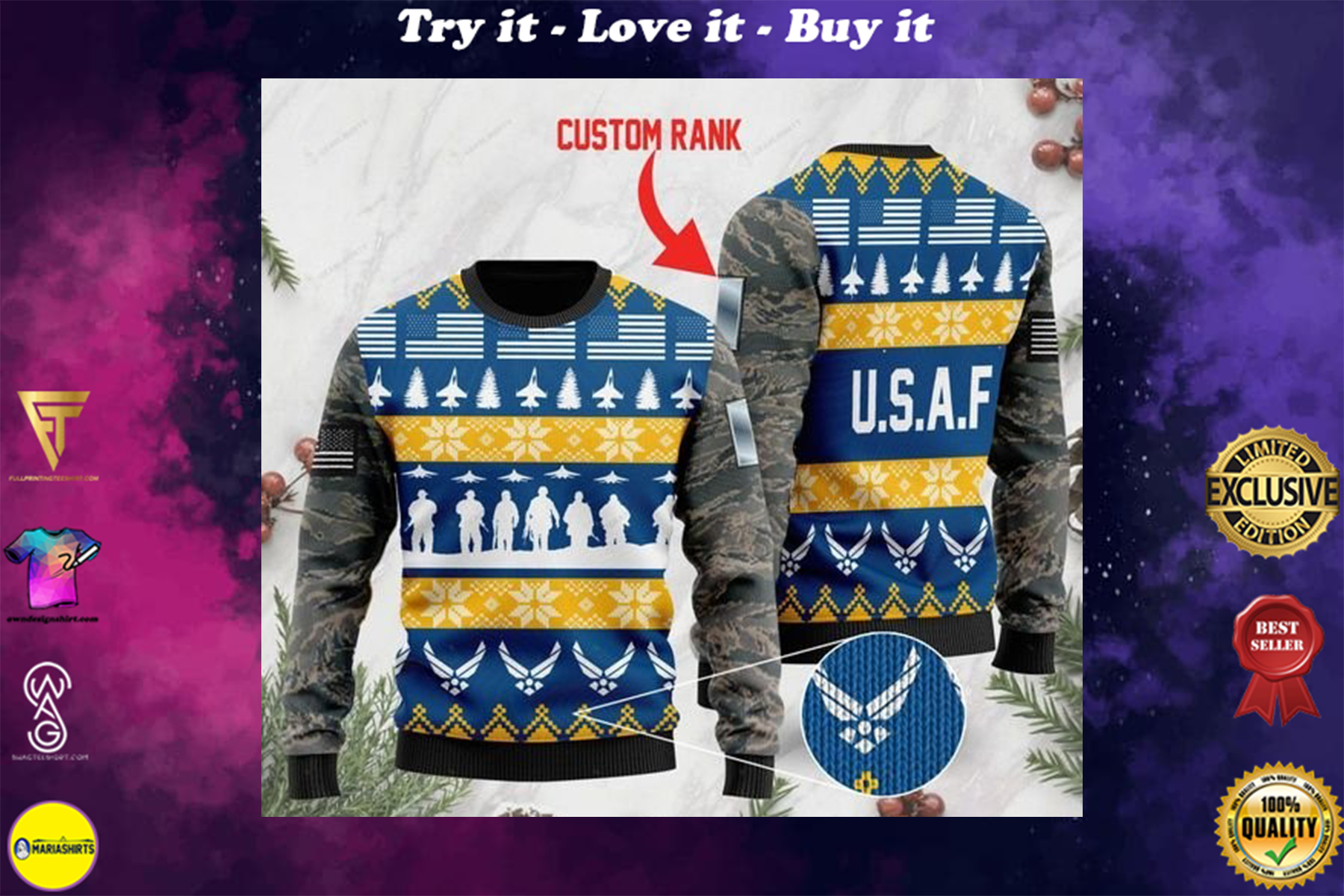 custom rank the united states air force full printing ugly sweater