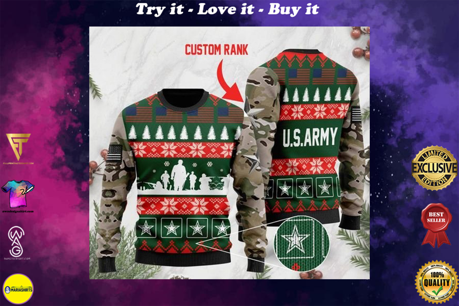 custom rank the united states army full printing ugly sweater