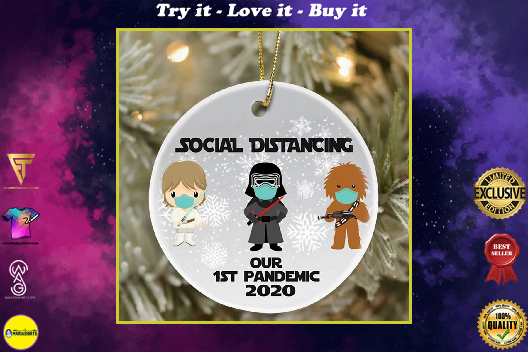 darth vader and chewbacca social distancing our 1st pandemic 2020 ornament
