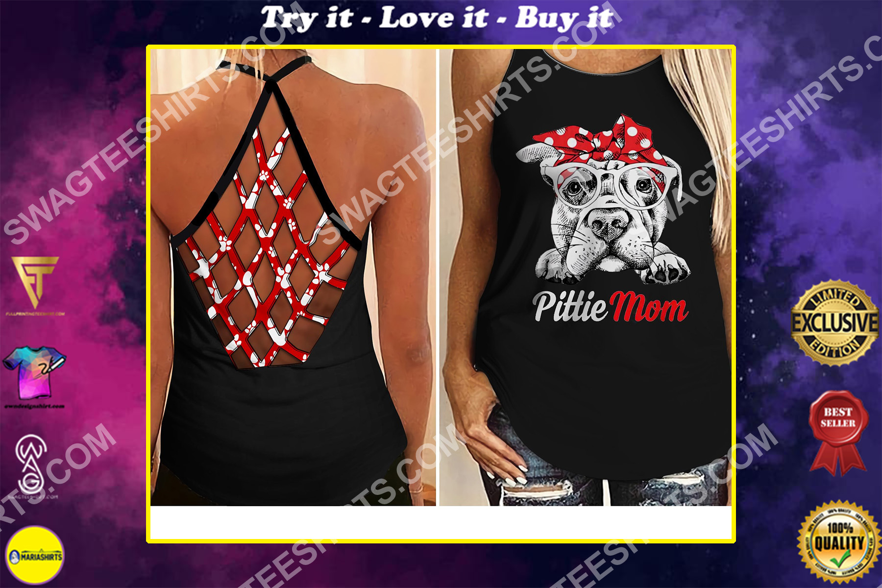 dog lover pittie mom all over printed criss-cross tank top