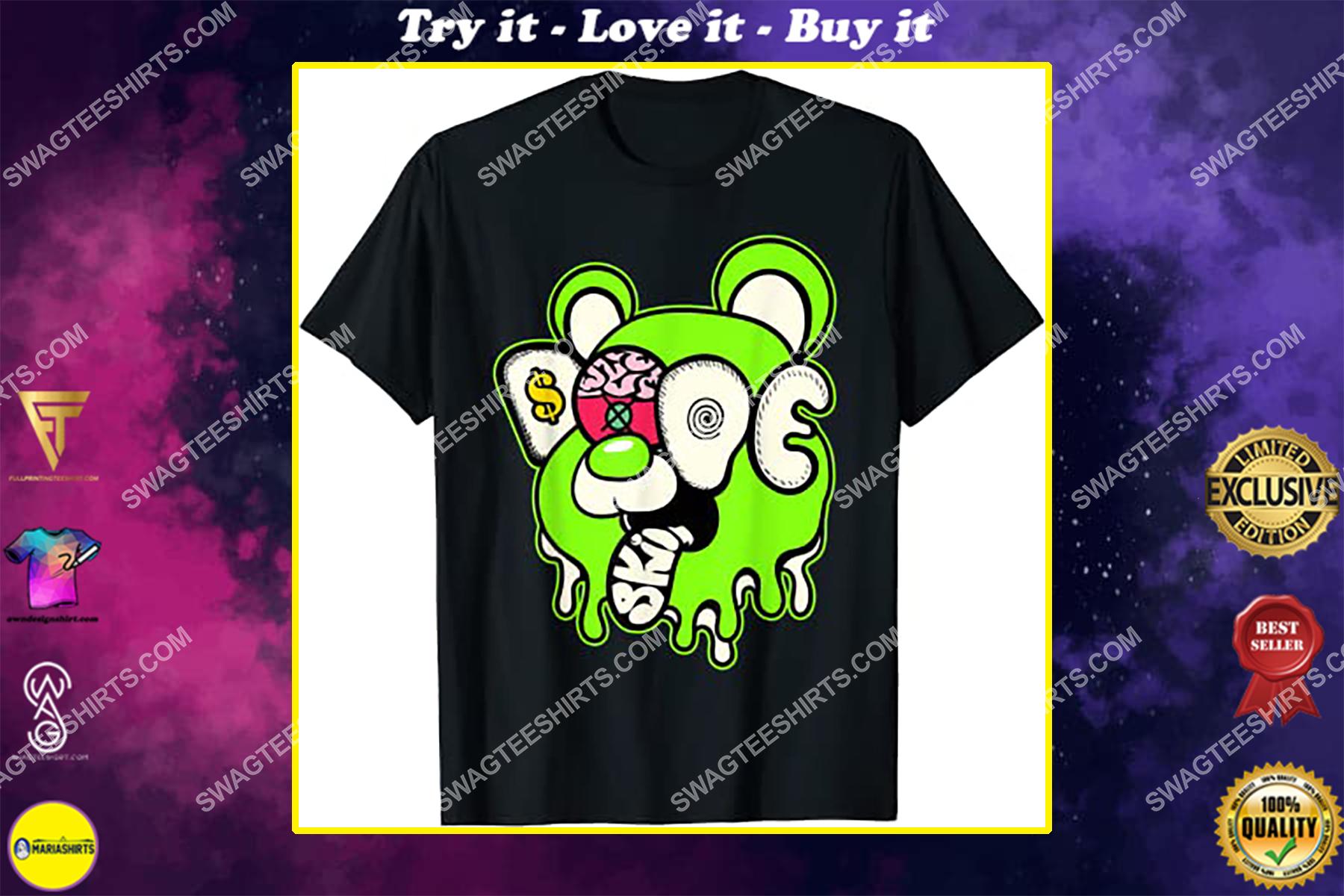 dope bear drip graphic match jordan 6 electric green shirt