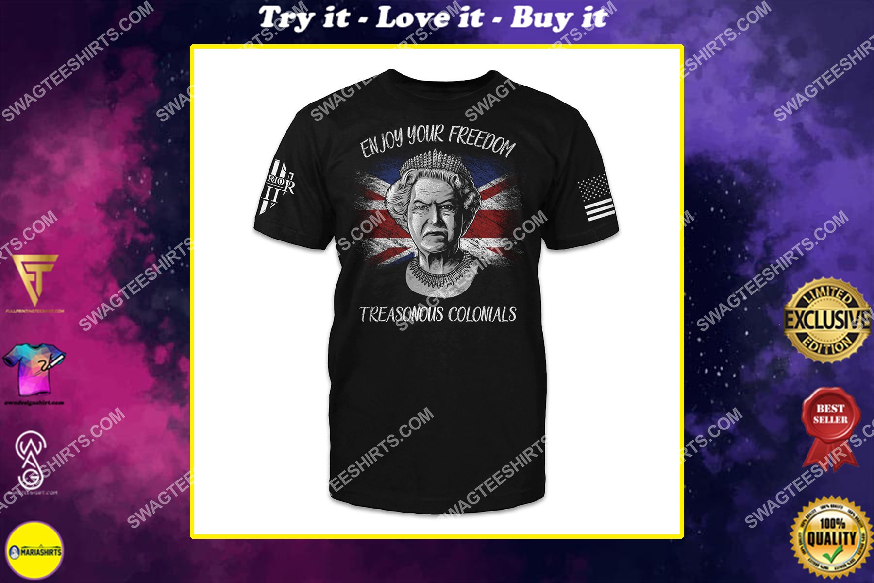enjoy your freedom treasonous colonials queen of england shirt