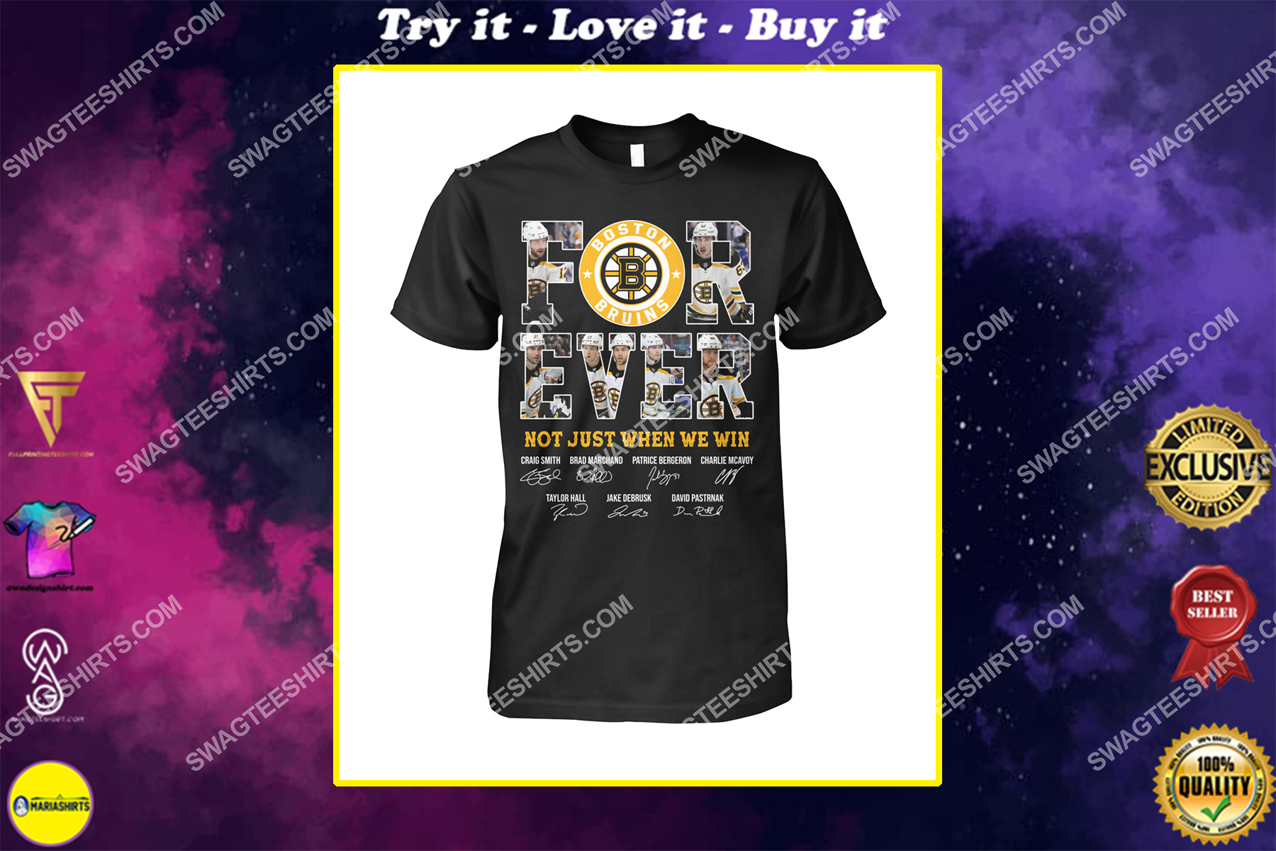 forever not just when we win nhl boston bruins signatures shirt