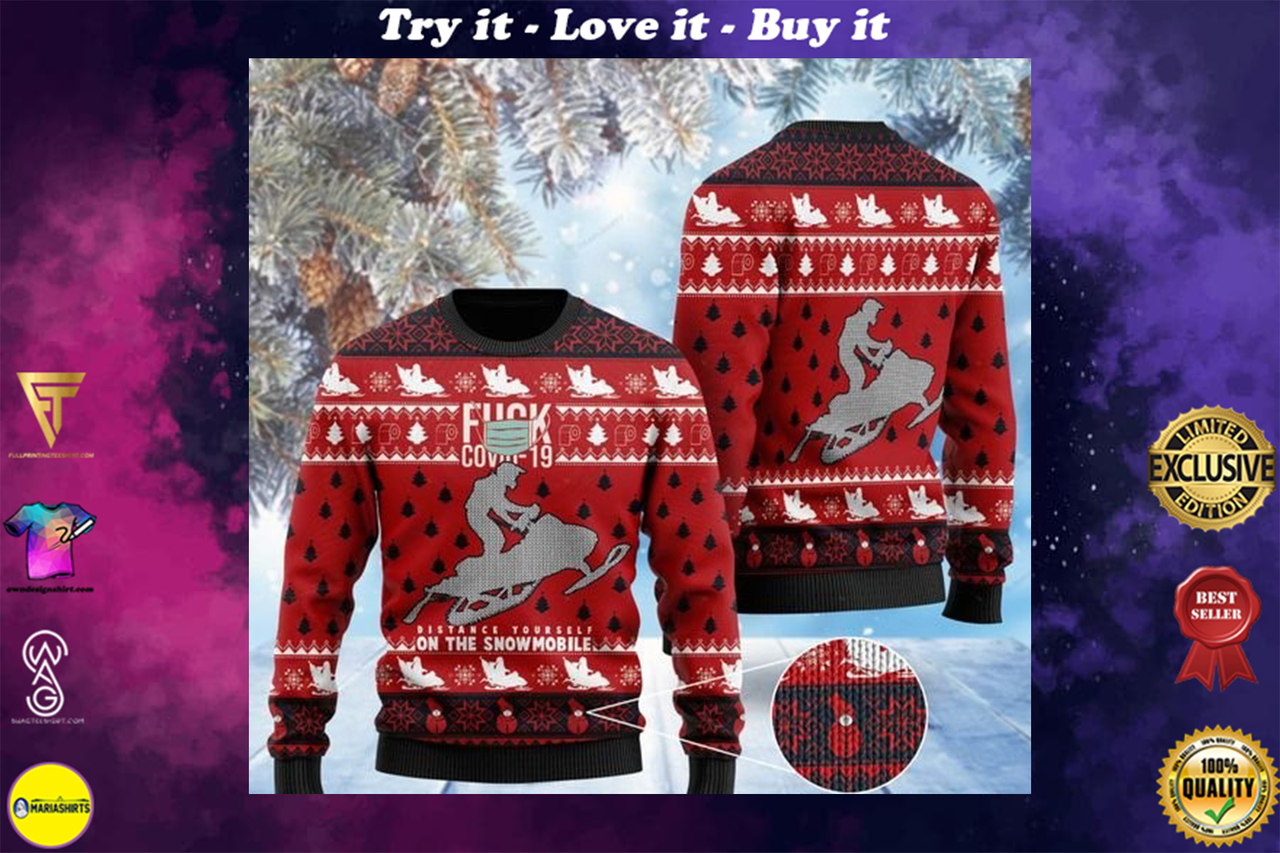 fuck covid distance yourself on the snowmobile 2020 ugly sweater