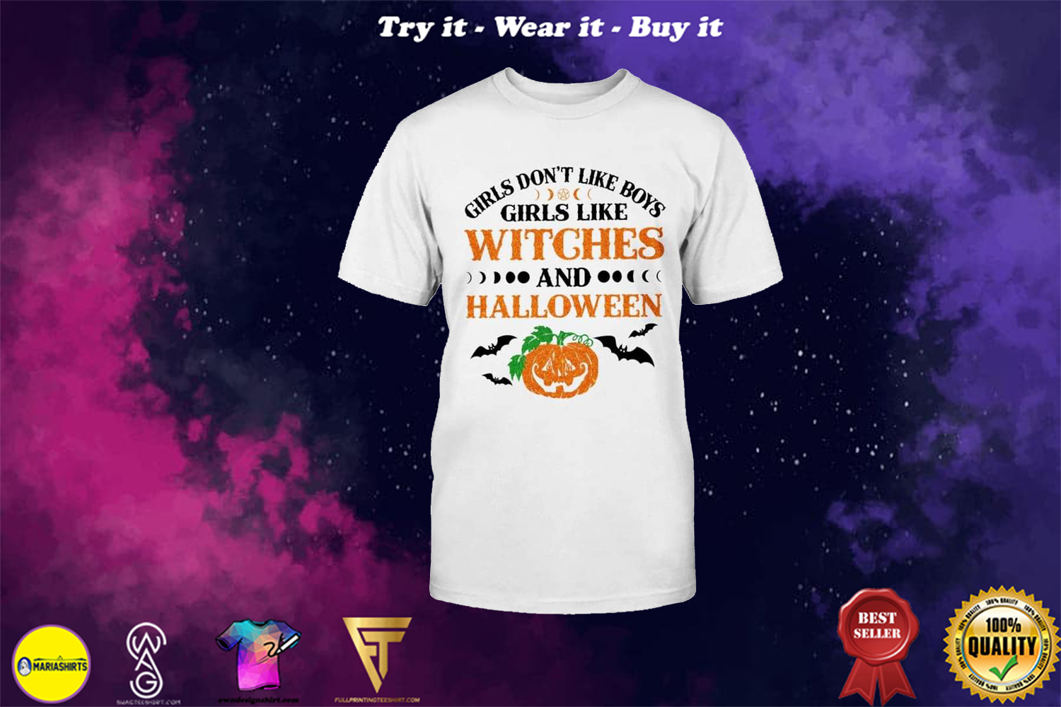 girls dont like boys girls like witches and halloween shirt