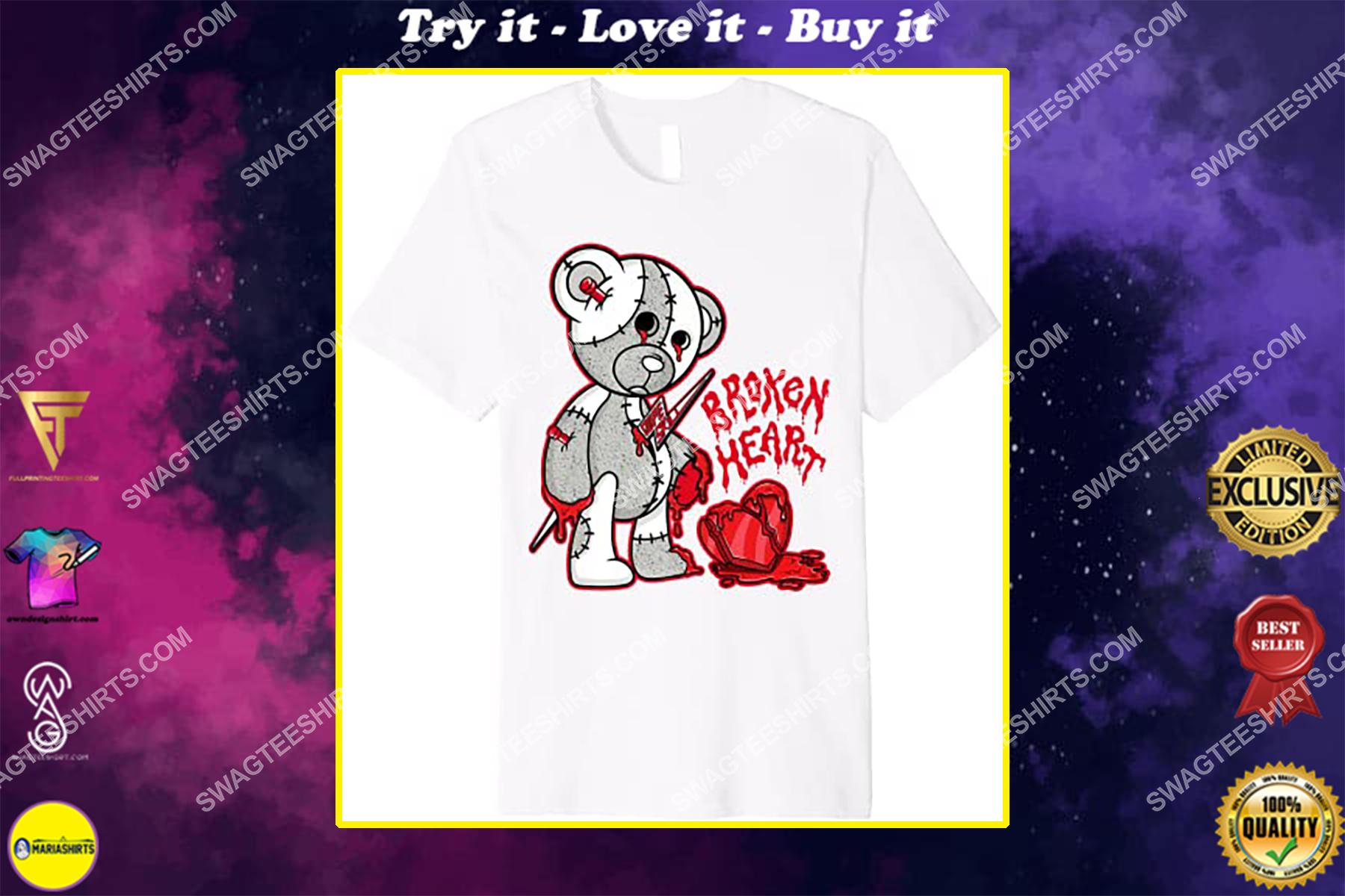 halloween broken heart bear match jordan 4 shirt