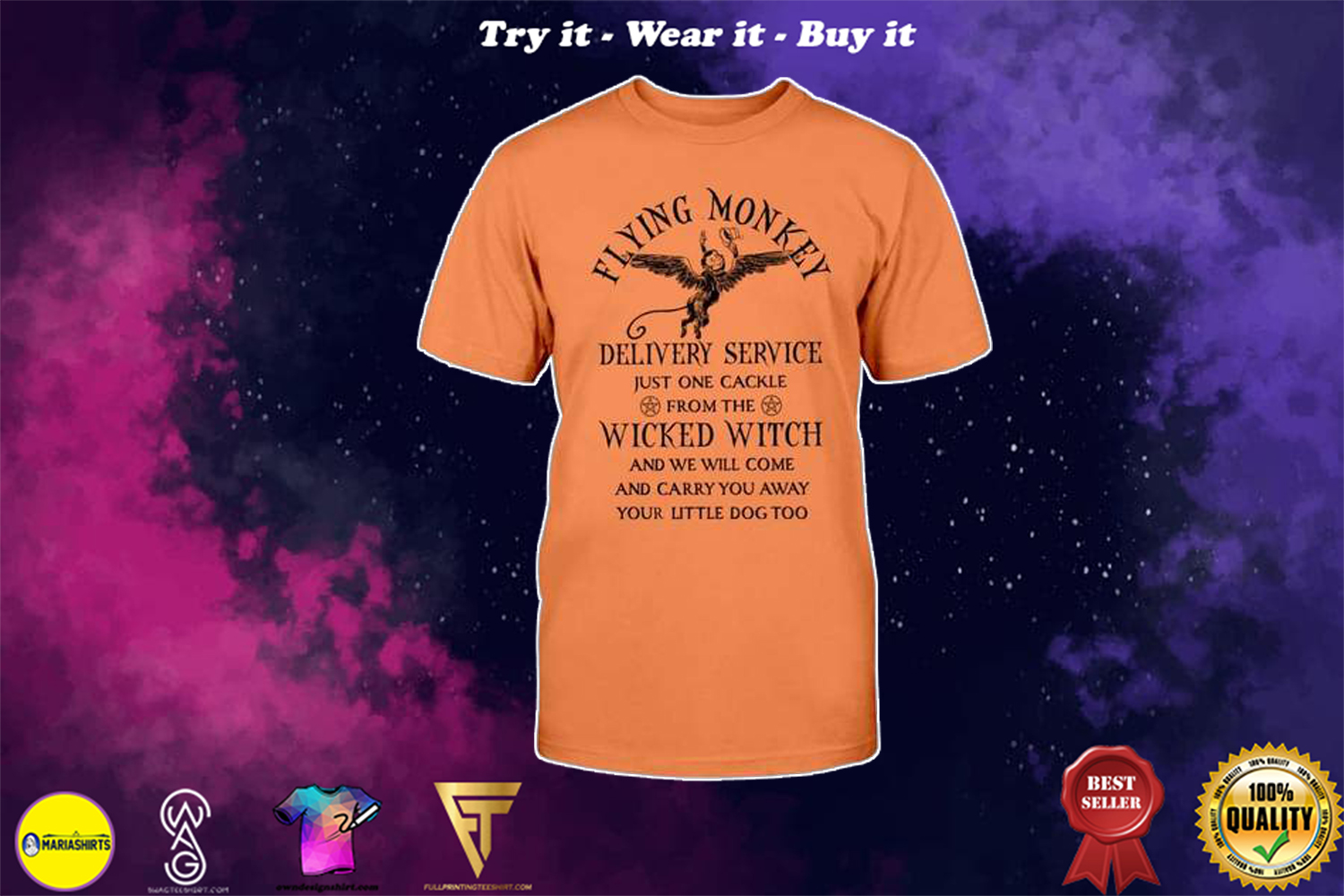 halloween flying monkey delivery service just one cackle from the wicked witch shirt