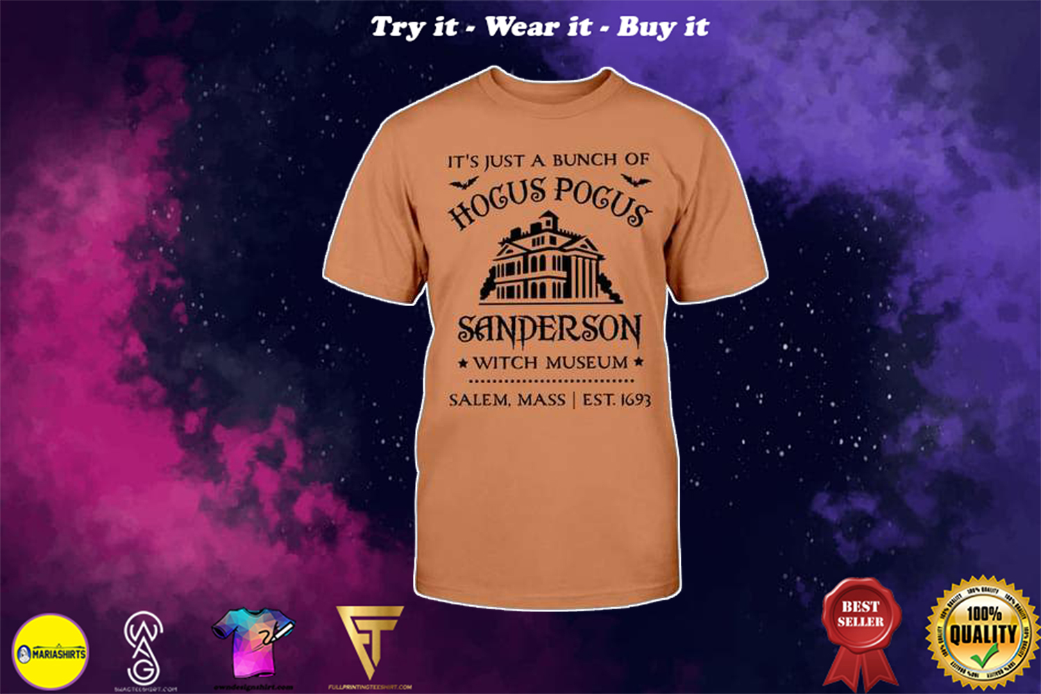 halloween its just a bunch of hocus pocus sanderson witch museum shirt