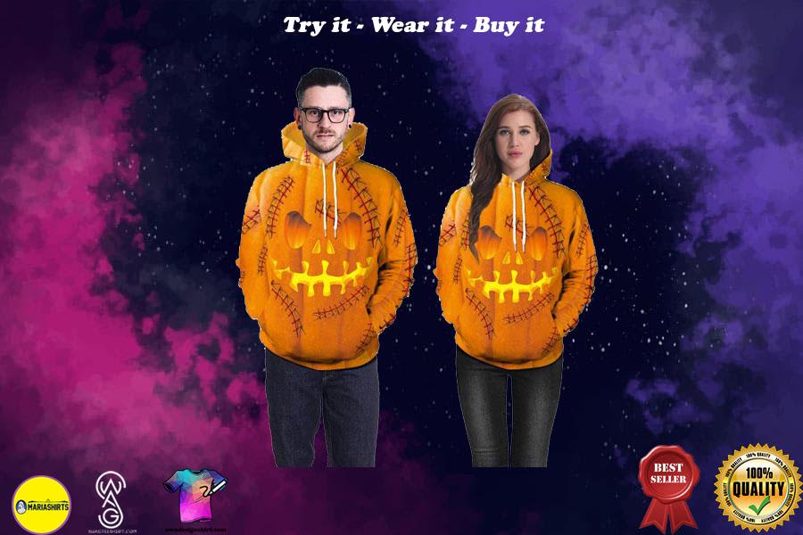 halloween pumpkin skull all over printed shirt