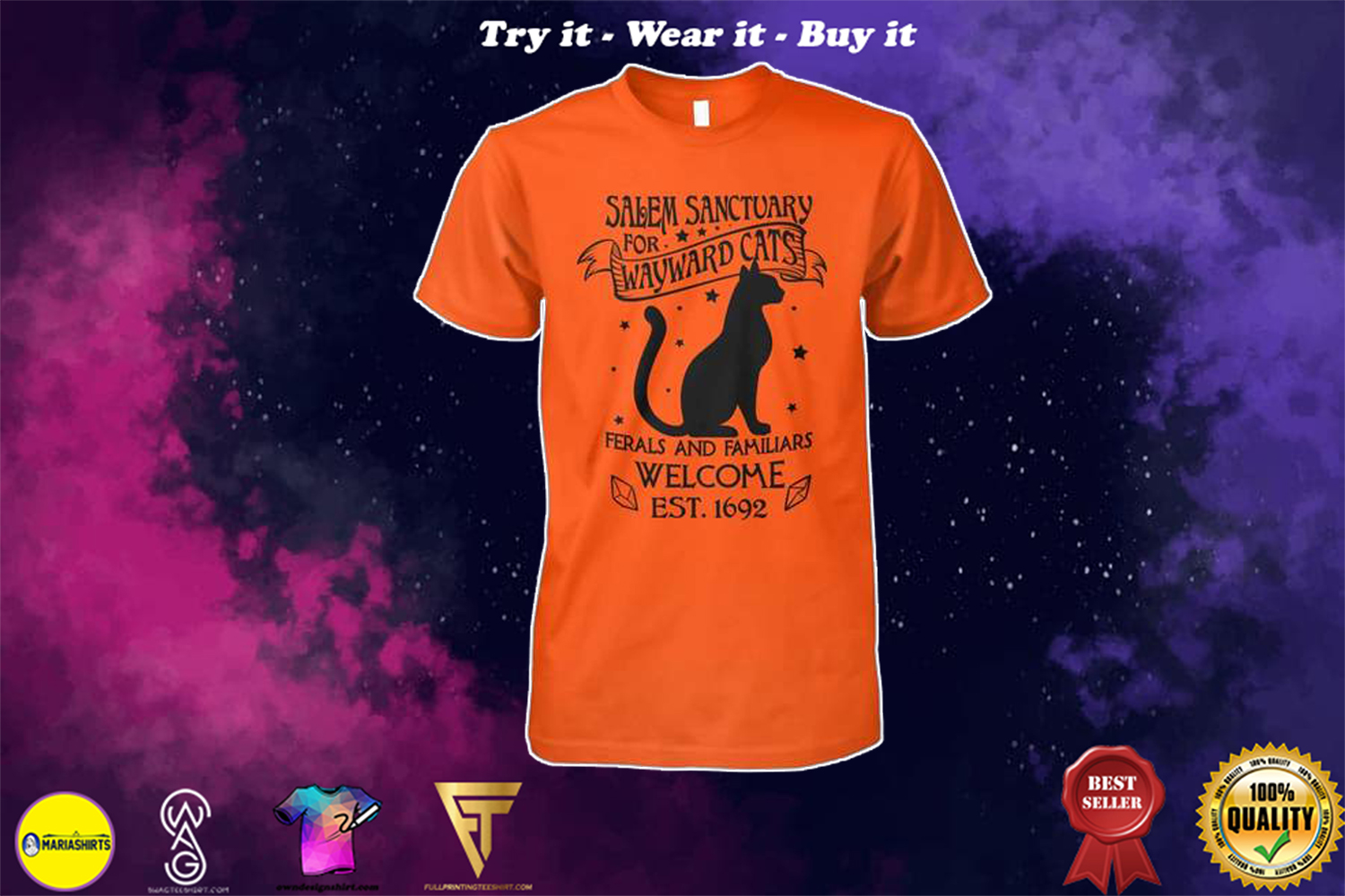 halloween salem sanctuary for wayward cats ferals and familiars welcome est 1692 shirt
