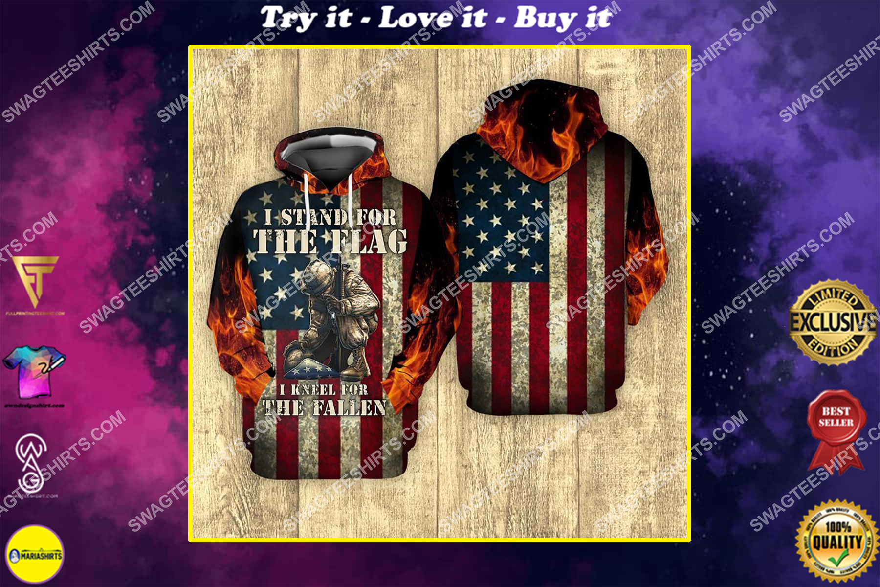 i stand for the flag and kneel for the fallen veterans day full print shirt
