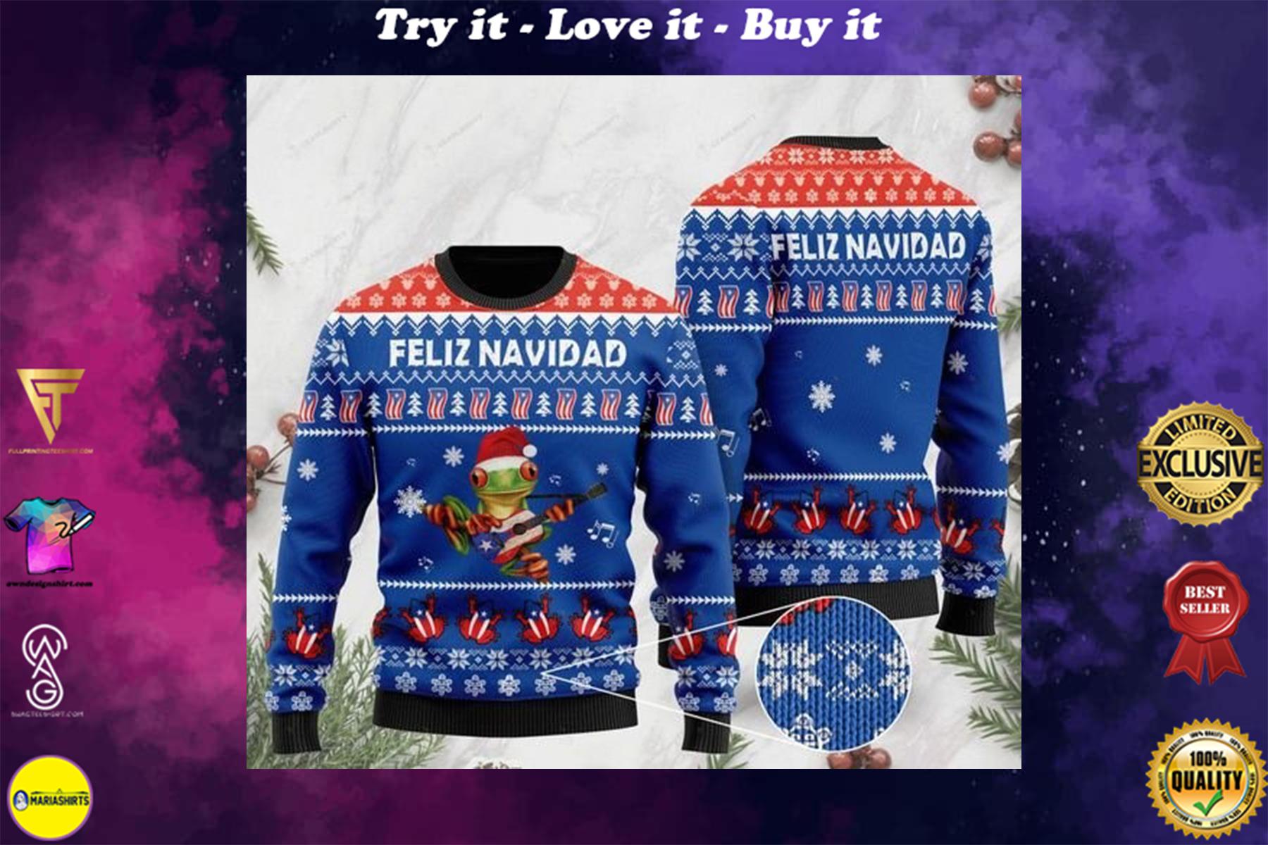 merry christmas puerto rico feliz navidad ugly sweater