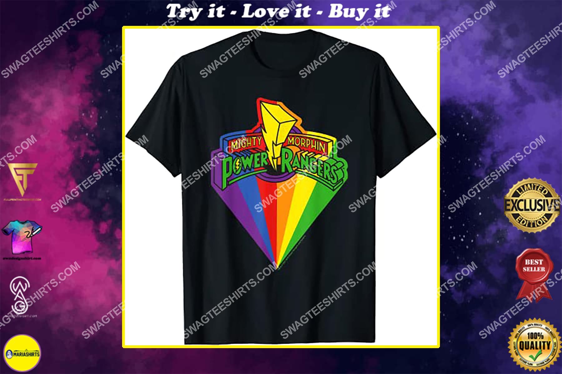 mighty morphin power rangers rainbow movie shirt