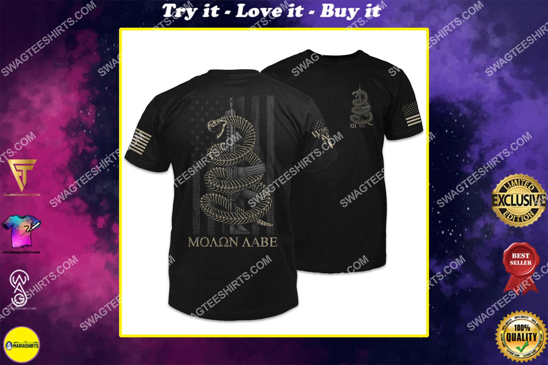 molon labe skeletal gadsden snake gadsden flag shirt