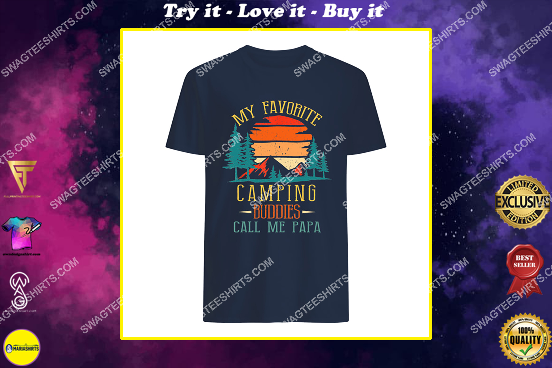 my favorite camping buddies call me papa father's day shirt