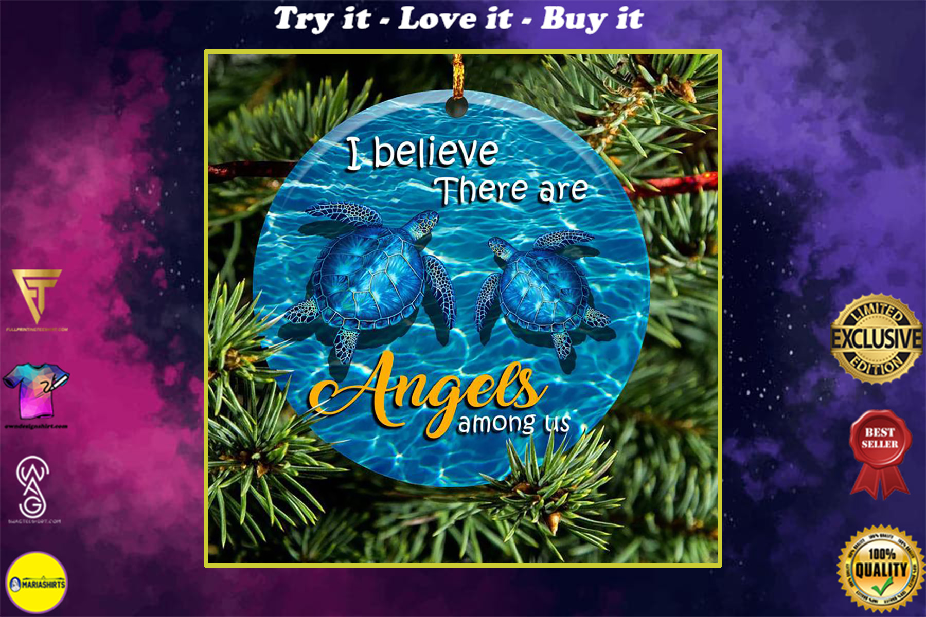 ocean turtle i believe there are angels among us christmas ornament