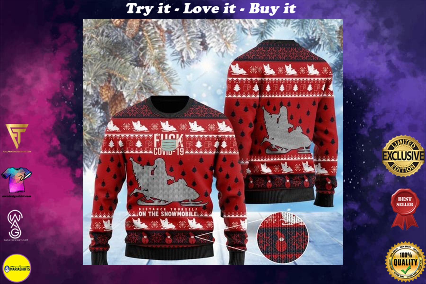 santa claus fuck covid distance yourself on the snowmobile ugly sweater
