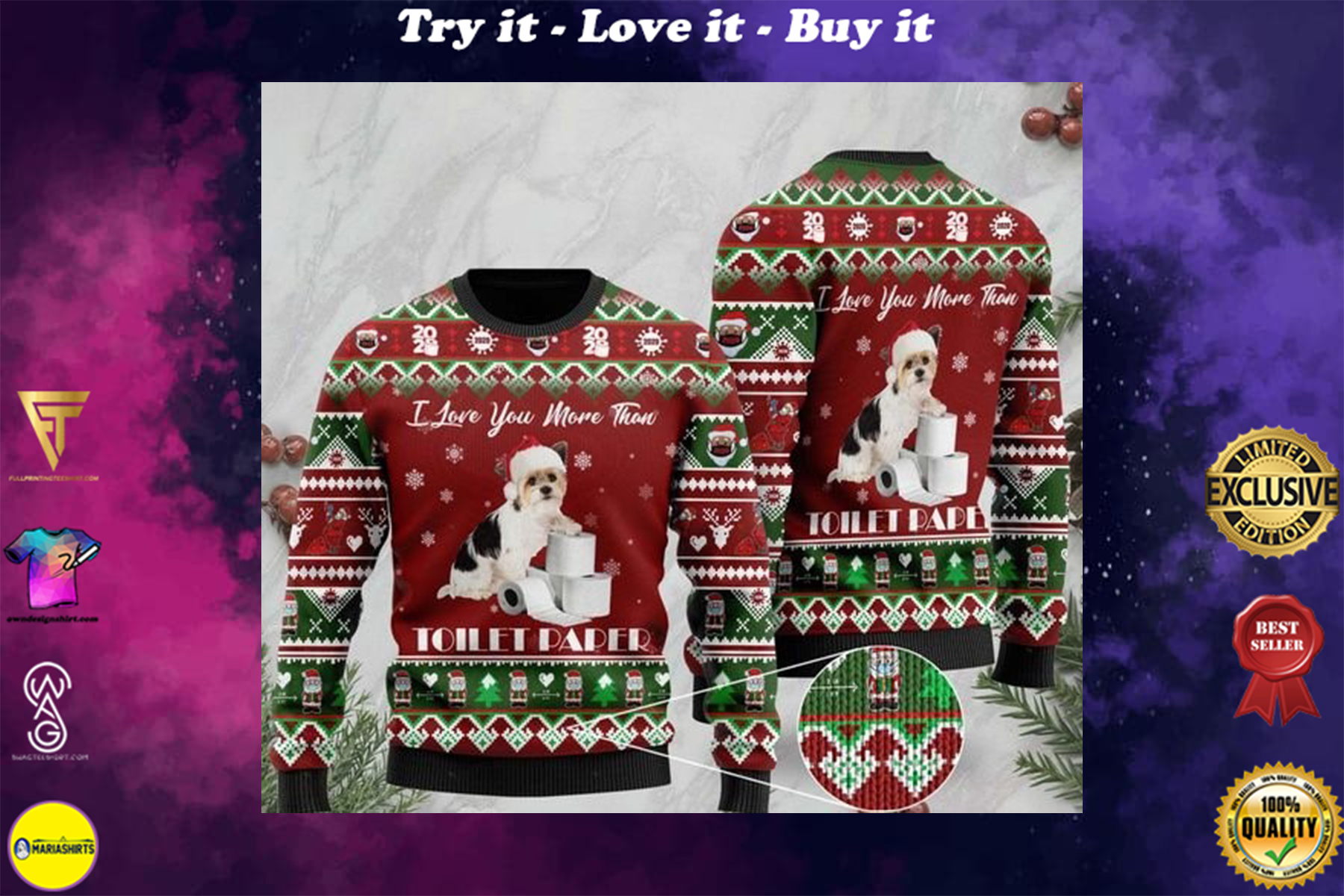 shih tzu i love you more than toilet paper ugly sweater