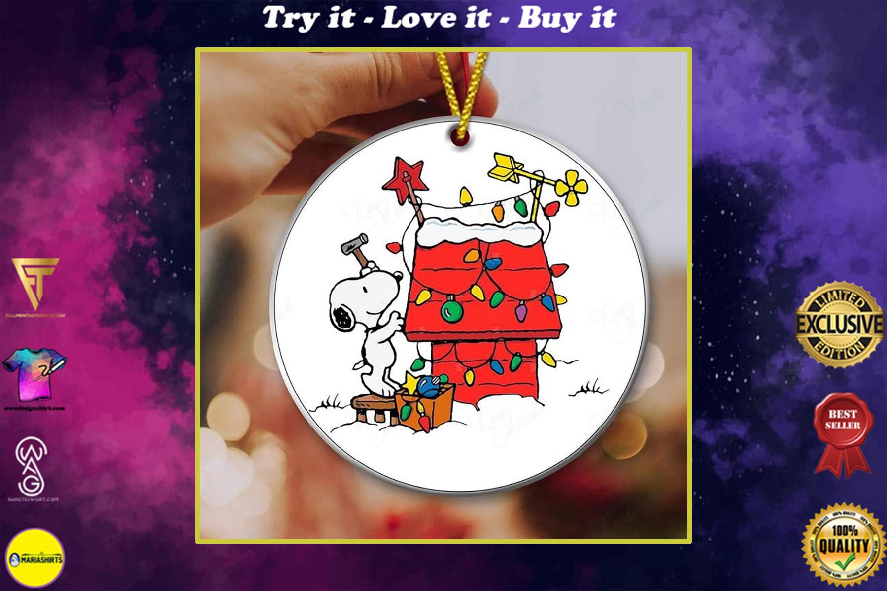 snoopy and christmas house christmas ornament