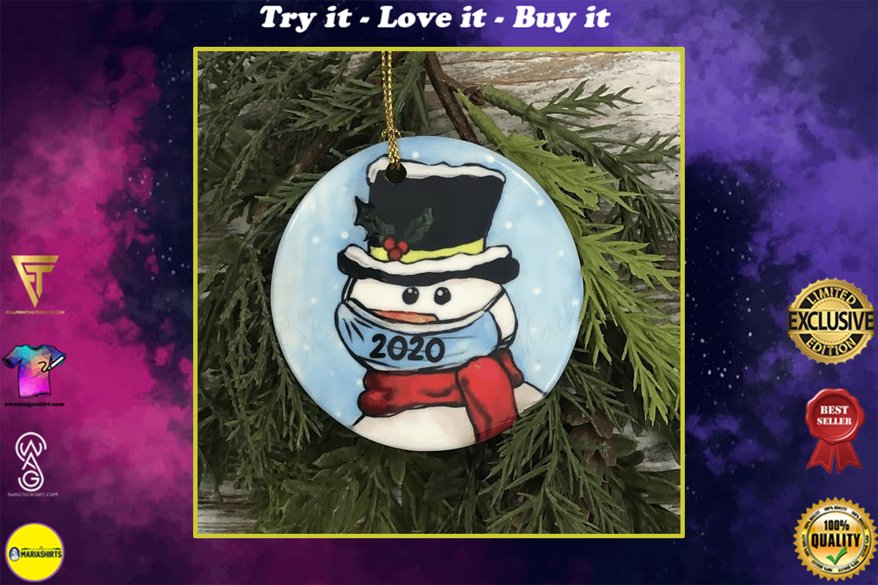 social distancing snowman with mask christmas ornament