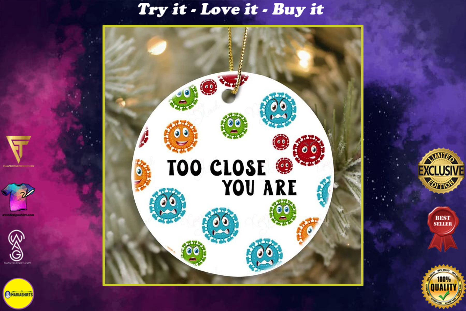 social distancing too close you are virus christmas ornament