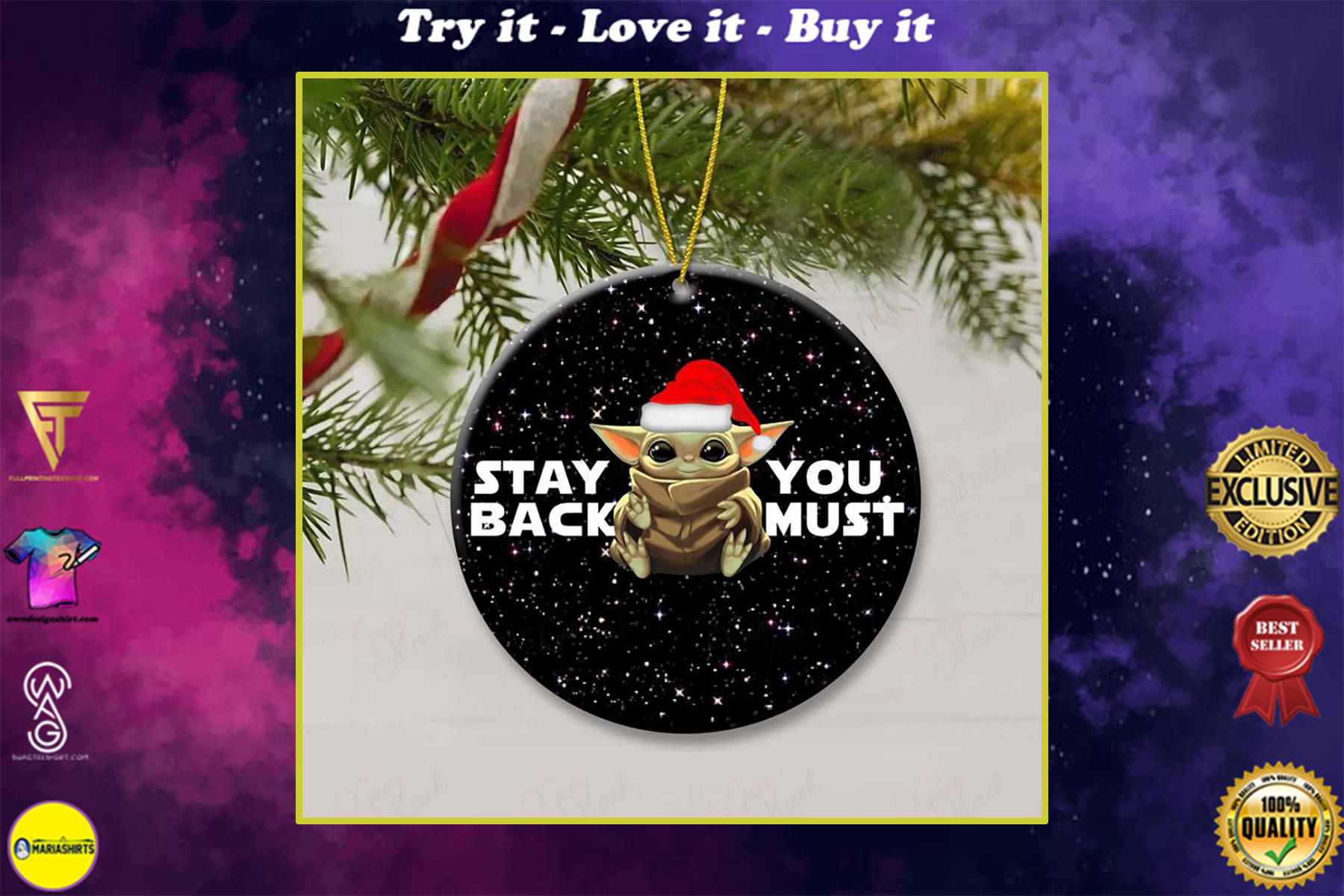star wars baby yoda stay back you must christmas ornament