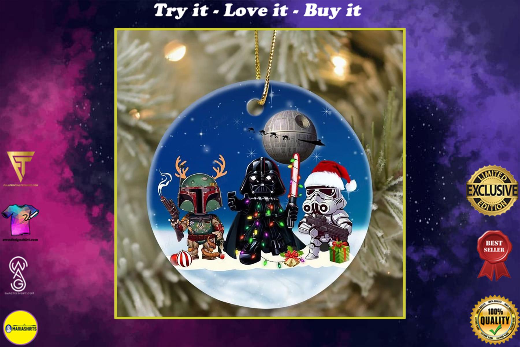 star wars death star darth vader and stormtrooper christmas ornament
