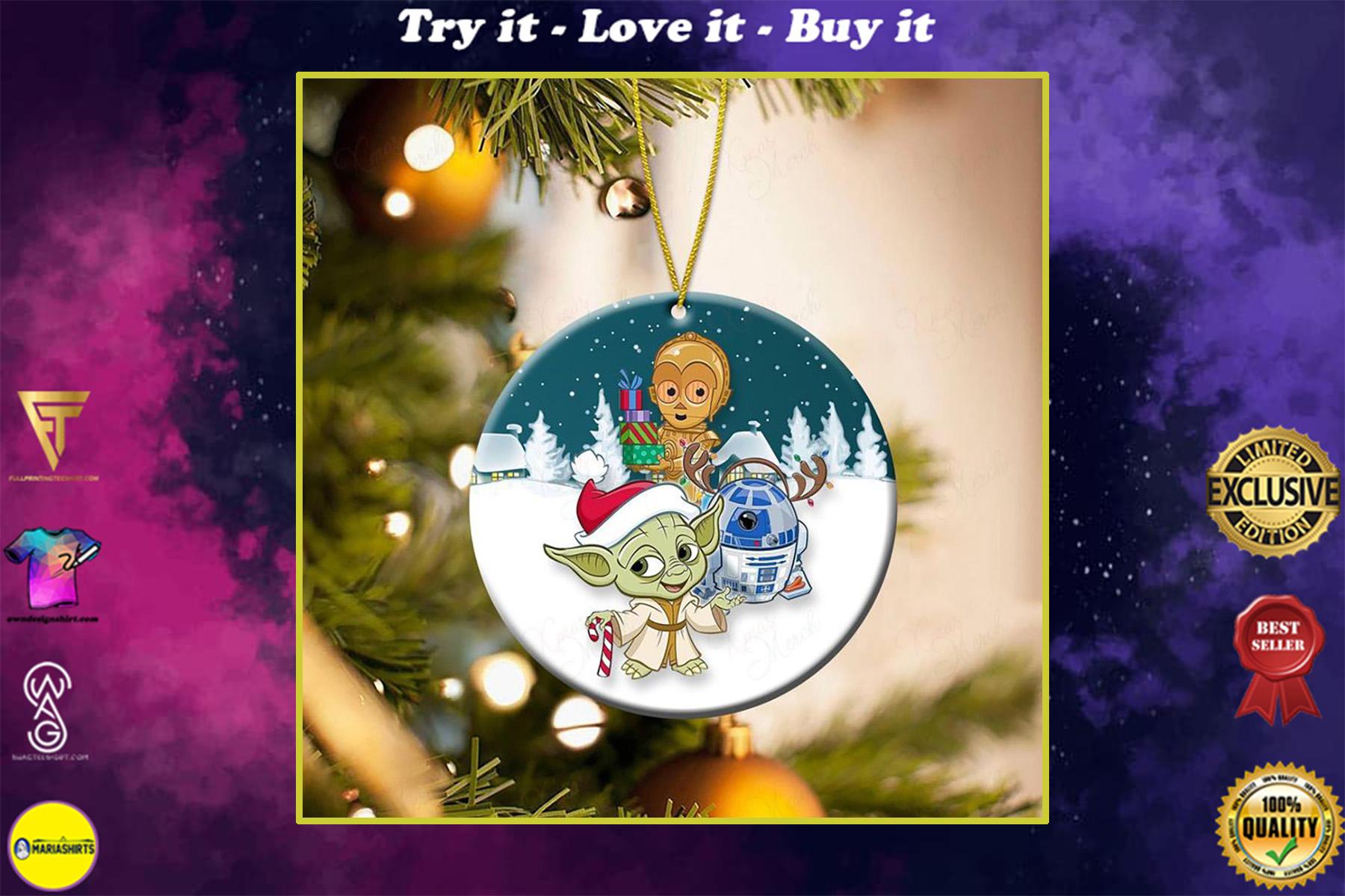 star wars yoda r2-d2 and c-3po christmas ornament