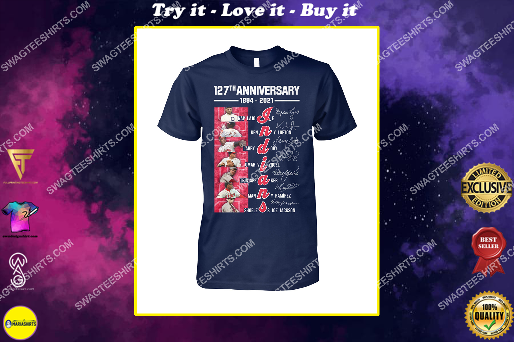 the cleveland indians 127th anniversary 1894 2021 signatures mlb shirt