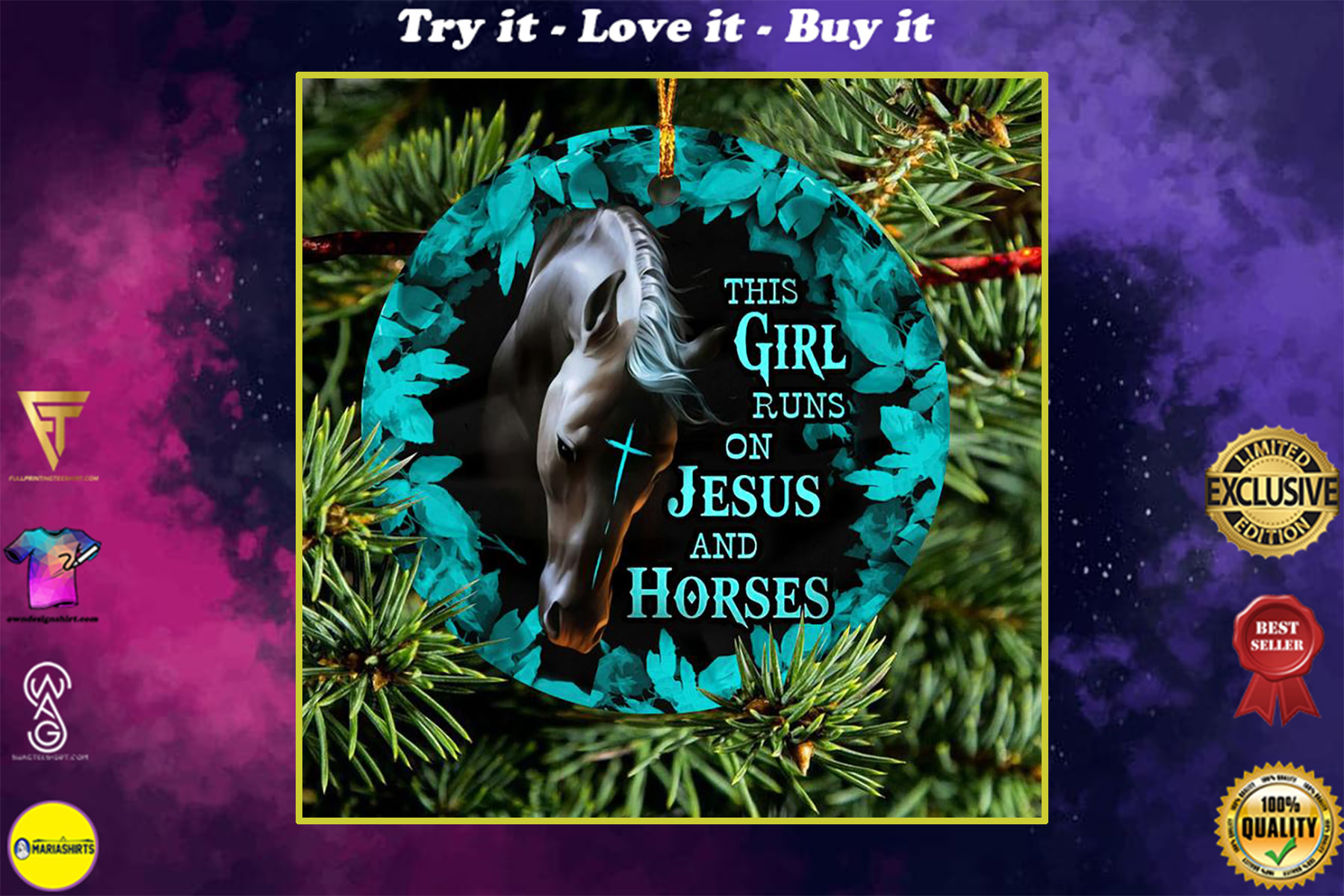 the girl runs on Jesus and horses christmas ornament