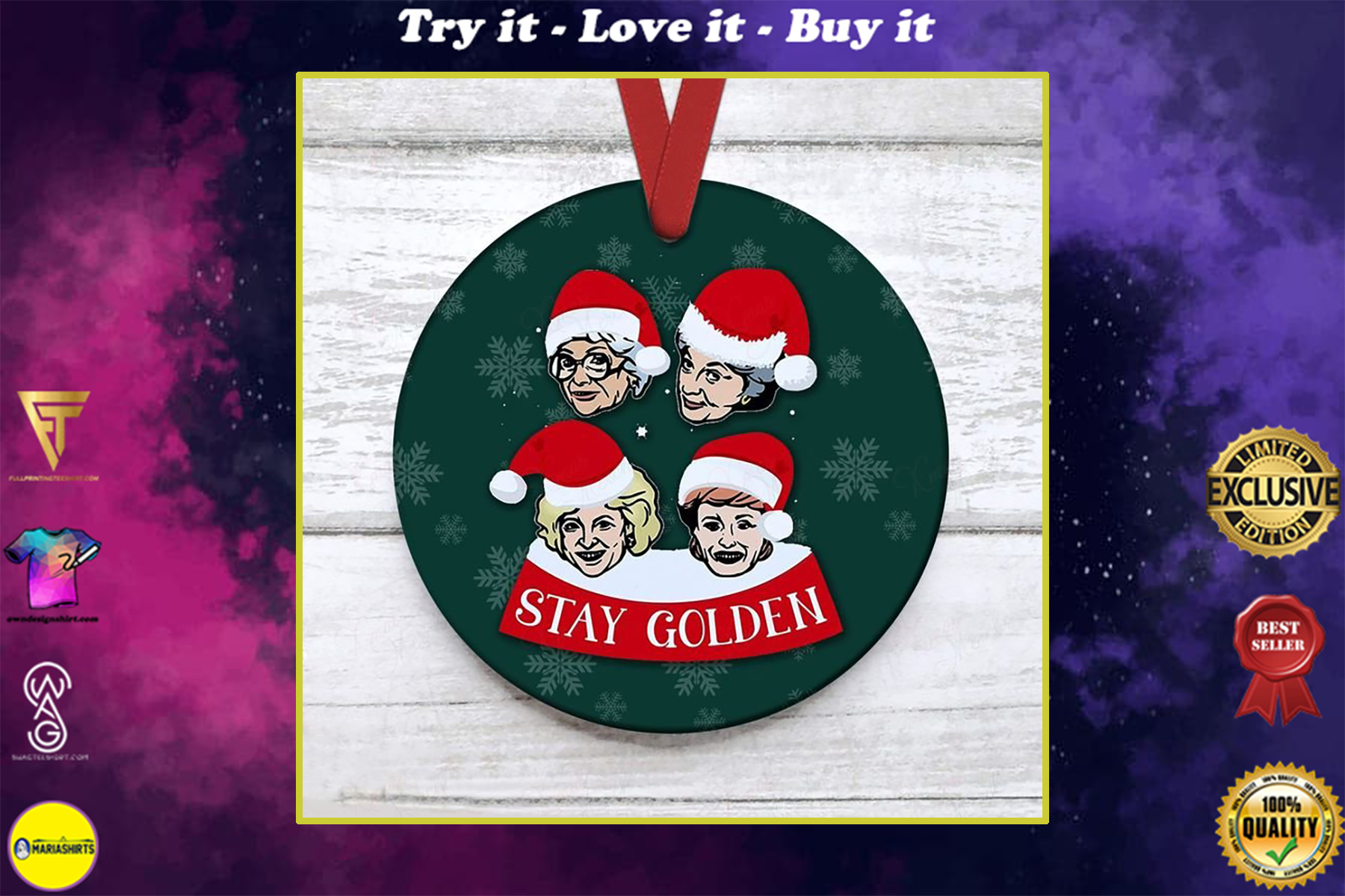 the golden girls with santa hat christmas ornament
