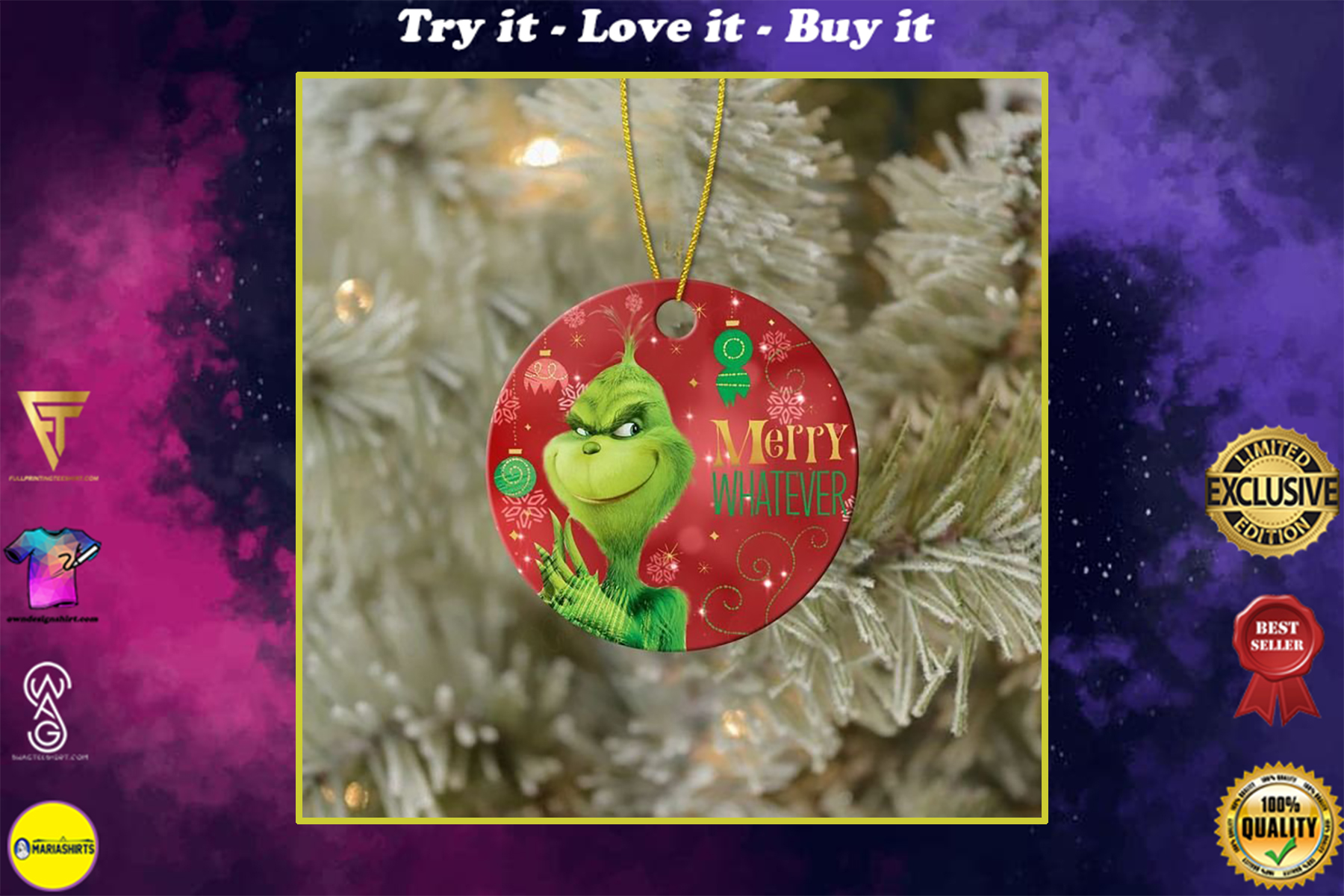 the grinch merry whatever christmas ornament