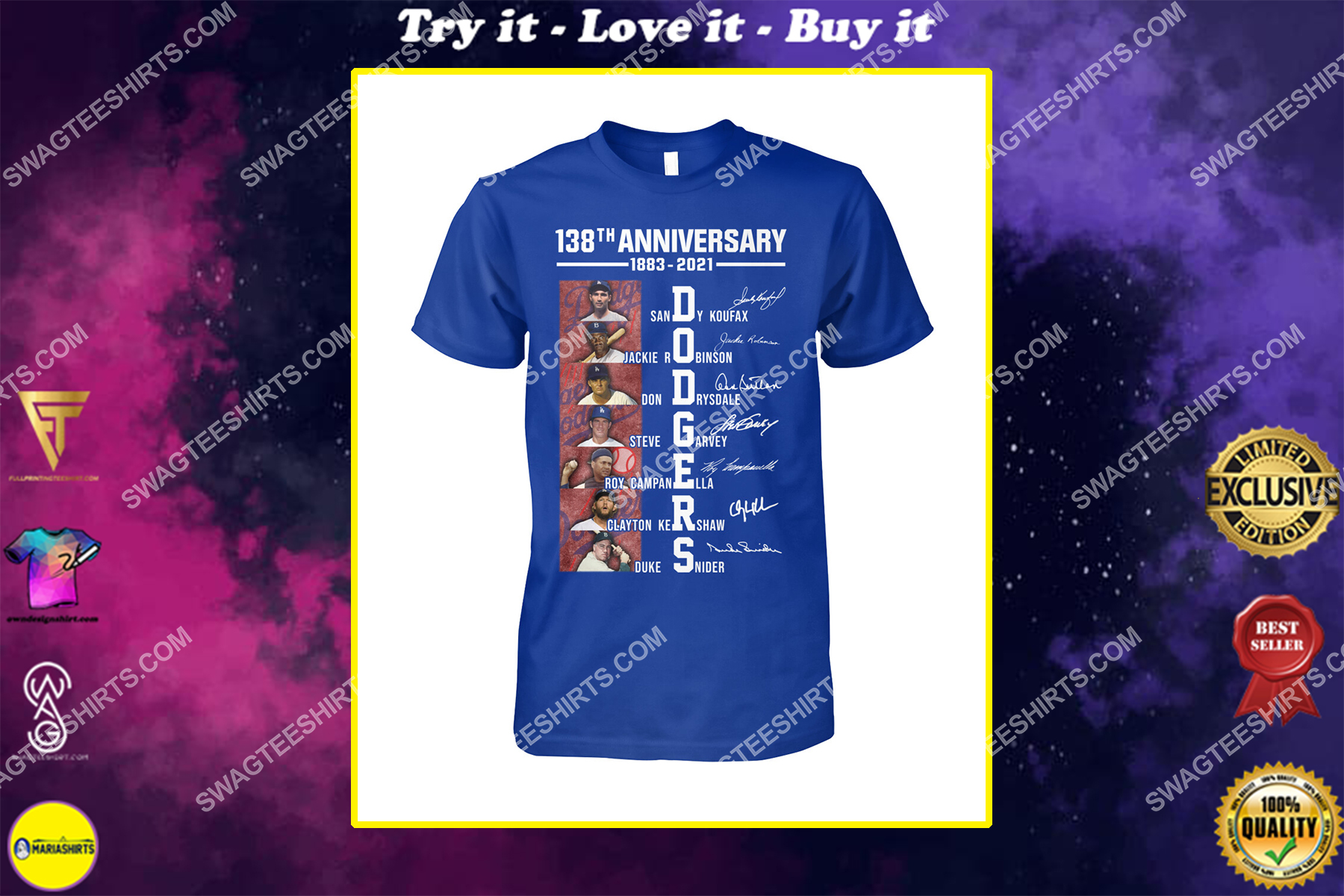 the los angeles dodgers 138th anniversary 1883 2021 signatures mlb shirt