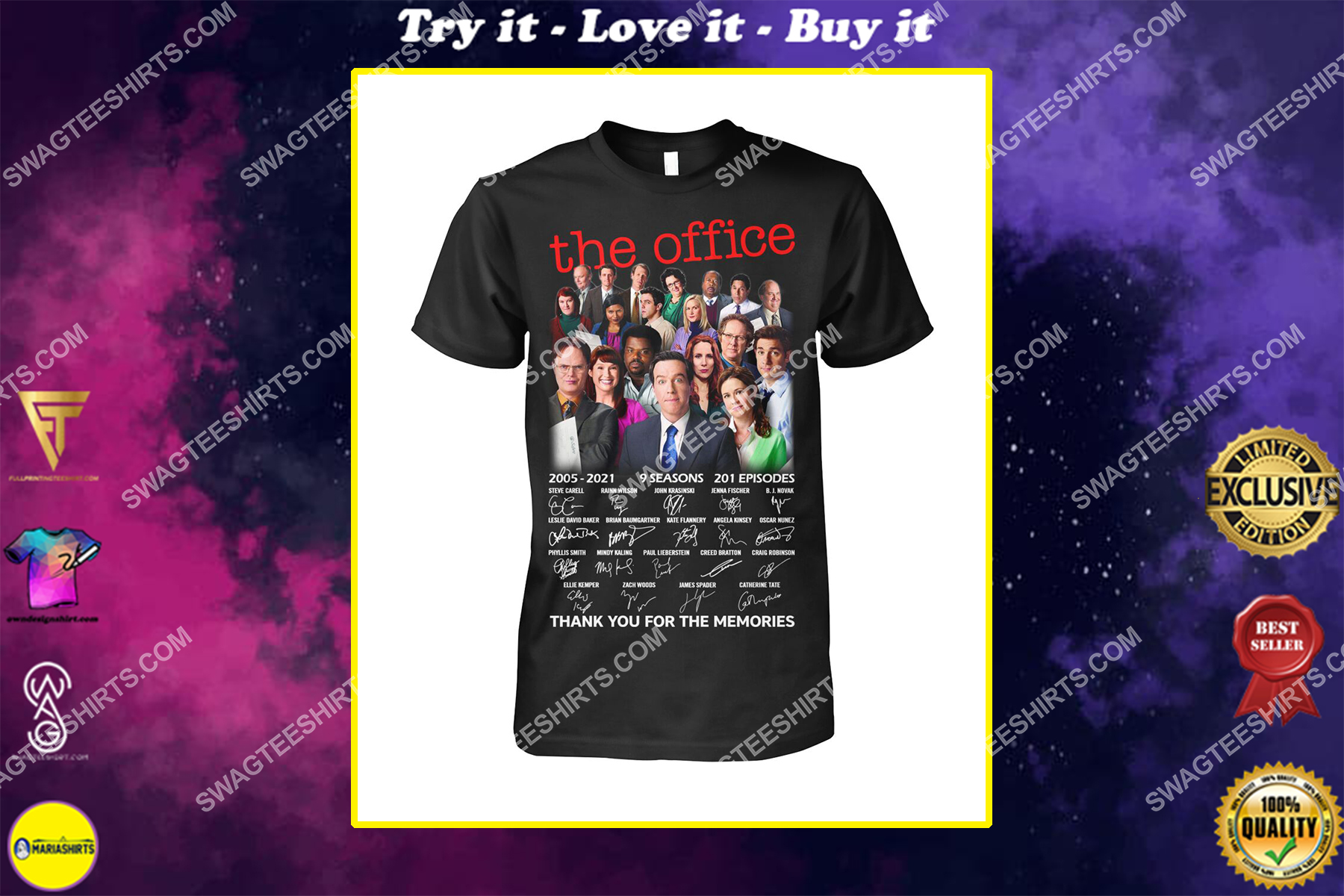 tv show the office thank you for the memories signatures shirt