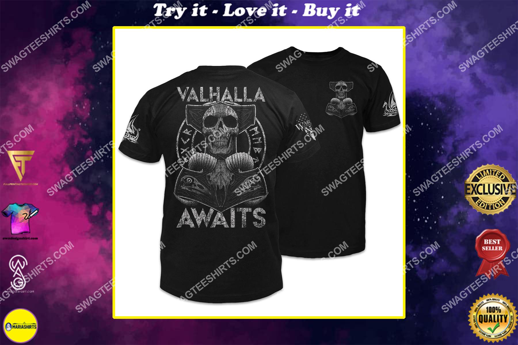 valhalla awaits thor's hammer skull viking shirt