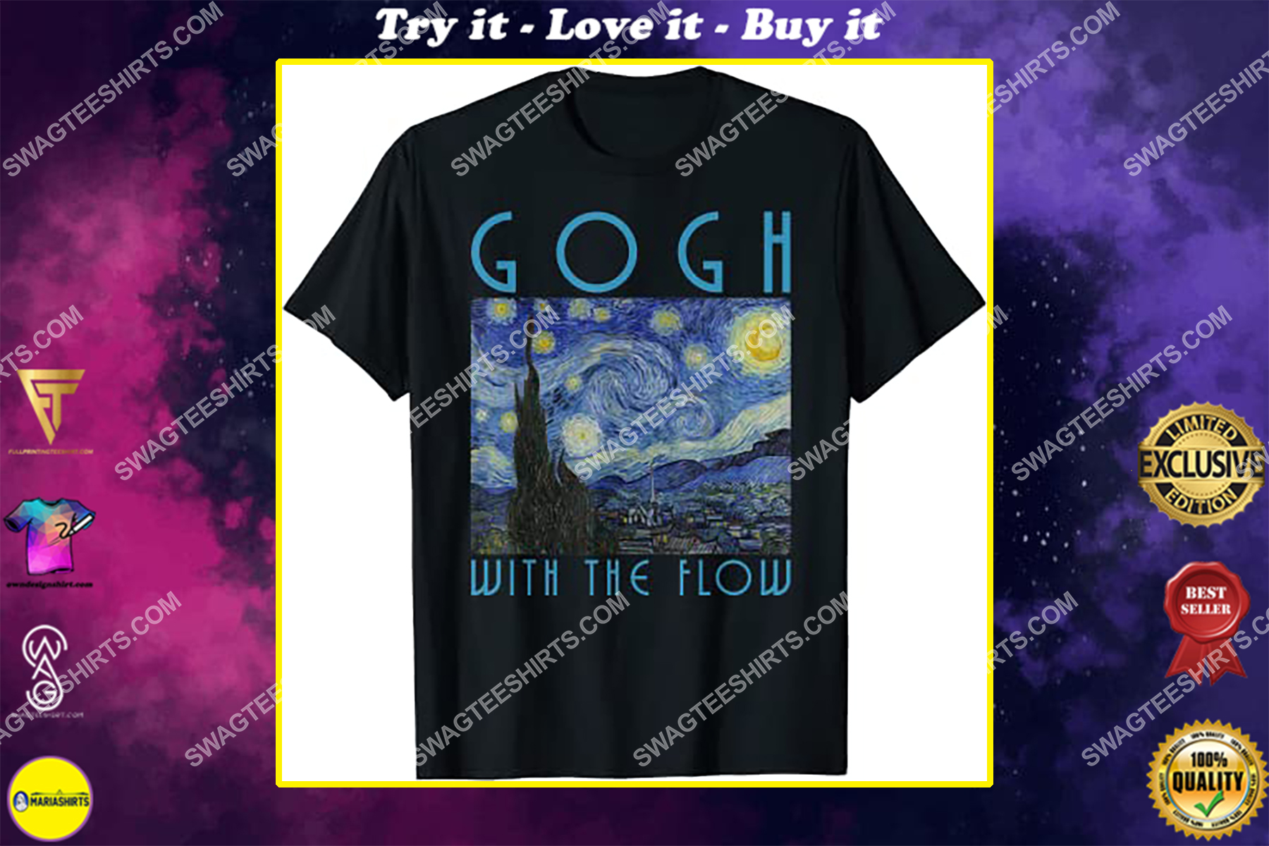 vincent van gogh the starry night with the flow shirt