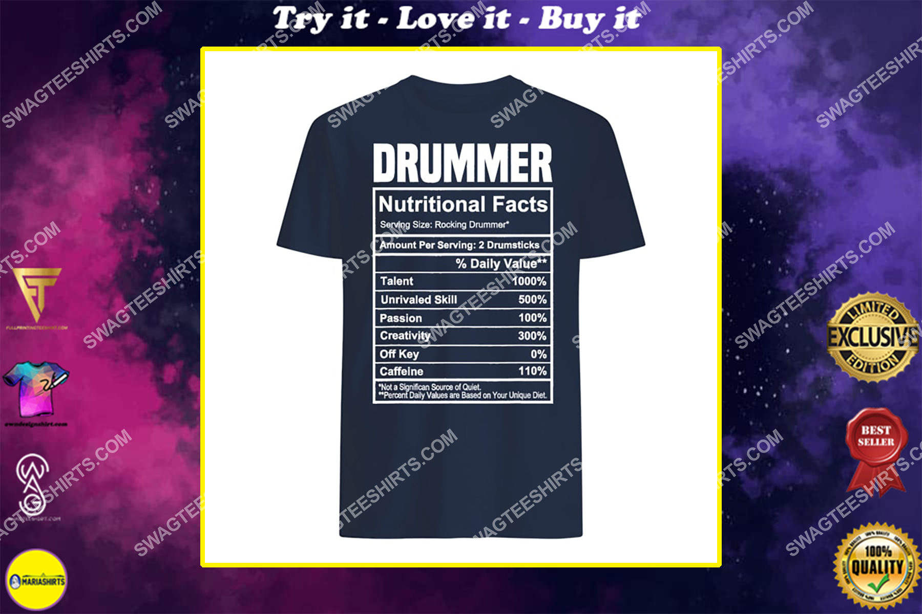 vintage drummer nutrition facts gifts father's day shirt
