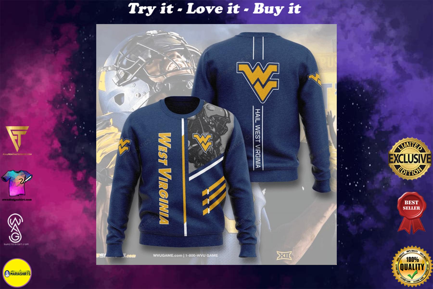 west virginia mountaineers football hail west virginia full printing ugly sweater