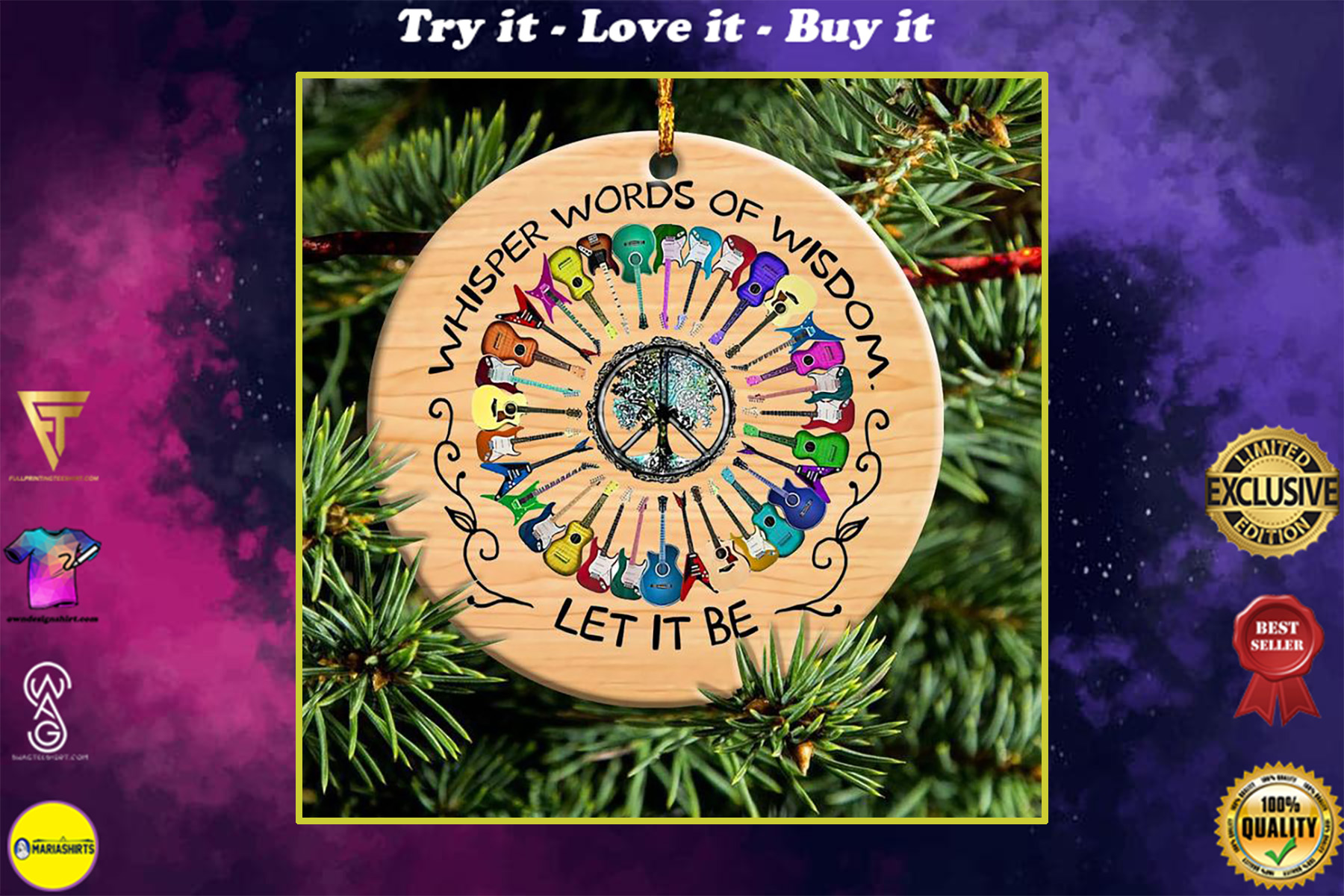 whisper word of wisdom guitar peace sign hippie christmas ornament